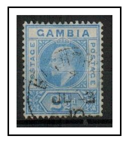 GAMBIA - 1905 2 1/2d bright blue used with DENTED FRAME variety.  SG 60b.
