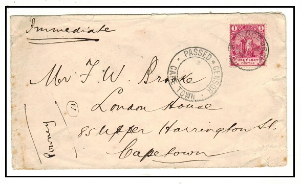 CAPE OF GOOD HOPE - 1902 1d rate cover used at ENDEBOSCH with PASSED CENSOR/CAPETOWN h/s.