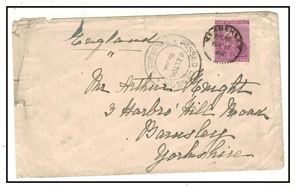 CAPE OF GOOD HOPE - 1902 3d rate cover to UK used at KIMBERLEY with PASSED CENSOR/W.ELTON h/s.
