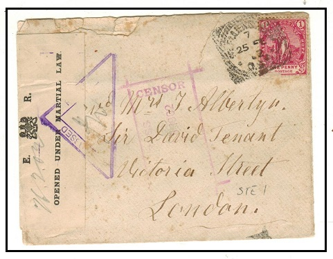 CAPE OF GOOD HOPE - 1902 1d rate cover used at STEYNSDORP with military law label and censor h/s.