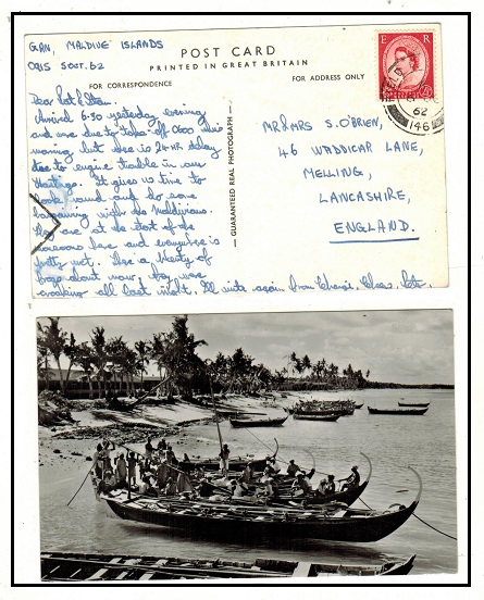 MALDIVE ISLANDS - 1962 2 1/2d rate postcard use to UK from FPO/146 at Maldive Islands.