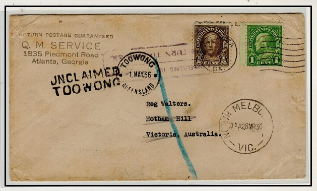 AUSTRALIA - 1928 inward cover from USA with UNCLAIMED/TOOWONG h/s applied.