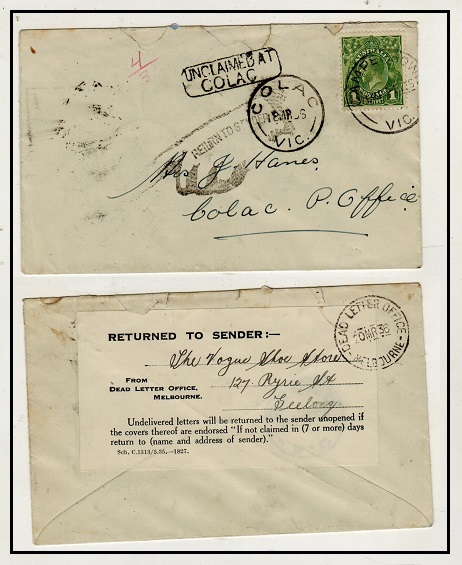 AUSTRALIA - 1936 1d rate local cover with UNCLAIMED AT/COLAC h/s applied and DEAD LETTER label.
