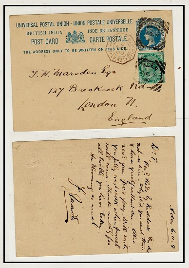 ADEN - 1879 1 1/2a blue Indian PSC uprated to UK used at ADEN.  H&G 2.