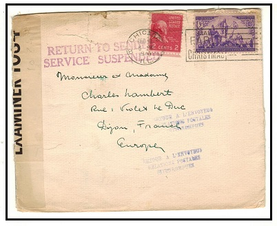 BERMUDA - 1940 USA to France cover held at Bermuda and struck SERVICE SUSPENDED.