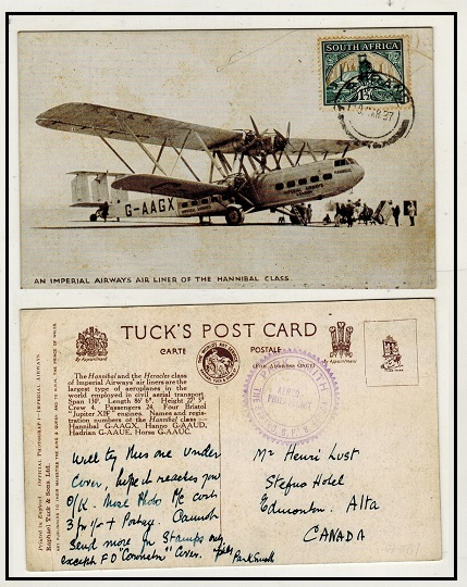 SOUTH AFRICA - 1937 1 1/2d rate postcard use to UK from STRAND showing Imperial Airways aircraft.
