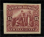 NEWFOUNDLAND - 1911 15c lake IMPERFORATE PLATE PROOF.