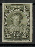 NEWFOUNDLAND - 1897 1/2c (SG type 39) IMPERFORATE PLATE PROOF.