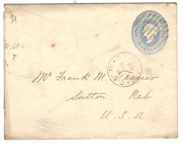 NEWFOUNDLAND - 1889 5c blue PSE used from ST.JOHNS.  H&G 2a.