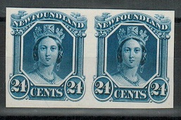 NEWFOUNDLAND - 1865 24c blue IMPERFORATE PLATE PROOF pair.