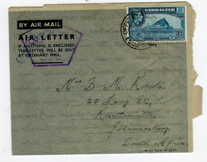 GIBRALTAR - 1945 FORMULA air letter used at FPO 475 with RAF censor.