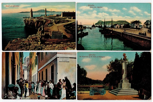 GIBRALTAR - Four unused early coloured picture postcards