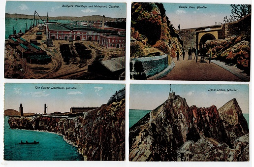 GIBRALTAR - Range of 5 unused early coloured picture postcards.