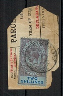 GIBRALTAR - 1913 2/- use on part PARCEL form.