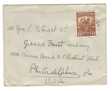 NEWFOUNDLAND - 1921 3c rate cover to USA cancelled by light NEWF