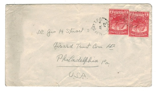 NEWFOUNDLAND - 1923 4c rate cover to USA cancelled by NEWF