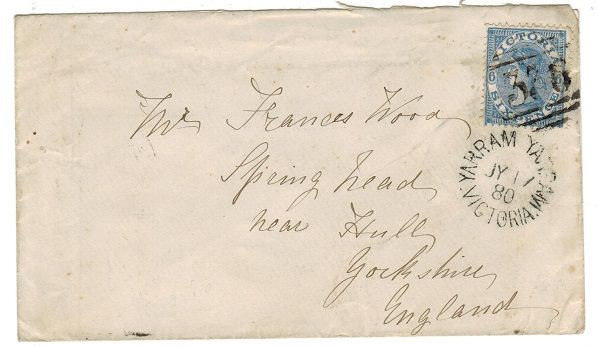 AUSTRALIA (Victoria) - 1880 6d rate cover to UK used at YARRAM YARRAM.