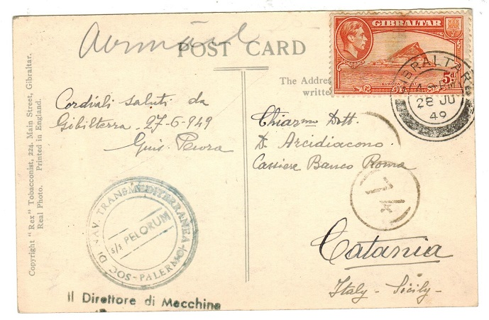 GIBRALTAR - 1949 S.S.PELORUM maritime use of picture postcard to Italy.