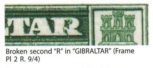 GIBRALTAR - 1950 registered cover to UK with 1/- (SG 143a) BROKEN R variety.