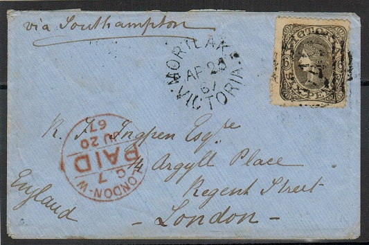 AUSTRALIA (Victoria) - 1867 6d rate cover to UK used at MORTLAKE.