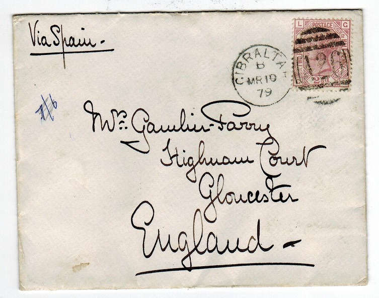 GIBRALTAR - 1879 GB (SG Z38) 2 1/2d used on cover with A26 duplex.
