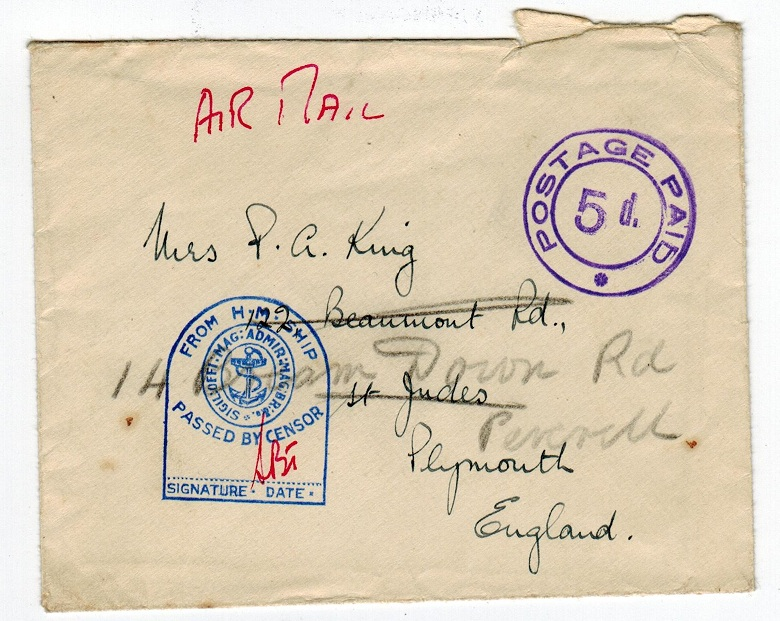 GIBRALTAR - 1940 POSTAGE PAID/5d maritime cover.
