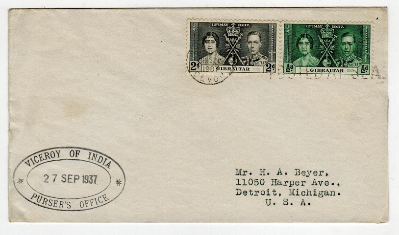 GIBRALTAR - 1937 VICEROY OF INDIA maritime cover to USA.