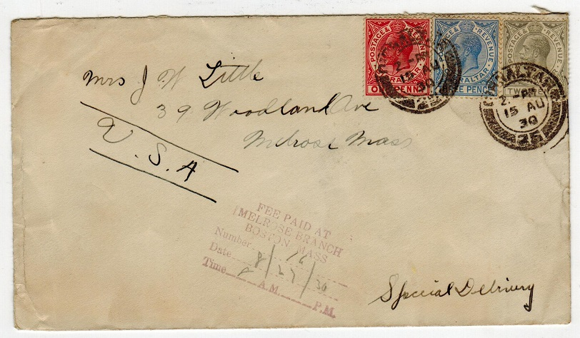 GIBRALTAR - 1930 cover to USA with FEE PAID handstamp applied on arrival.