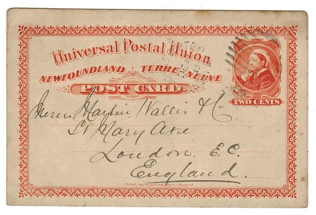 NEWFOUNDLAND - 1880 2c PSC to UK used at ST.JOHNS CENTRAL.  H&G 4.