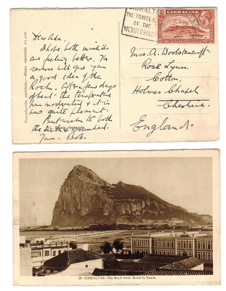 GIBRALTAR - 1931 postcard to UK with TRAVEL KEY slogan strike.