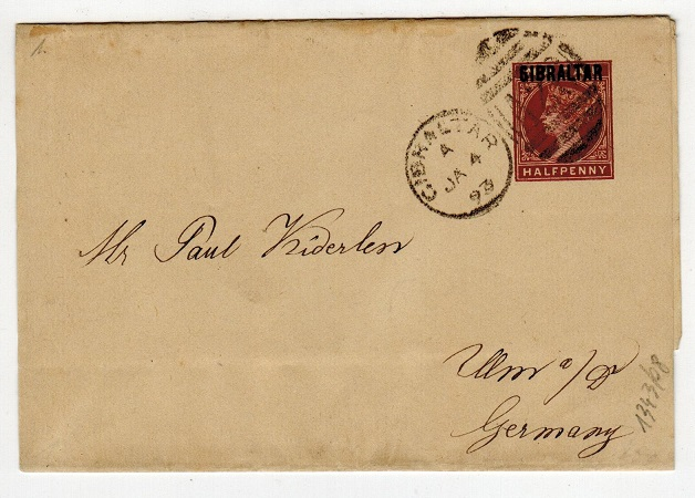 GIBRALTAR - 1886 1/2d postal stationery wrapper used to Germany.  H&G 1.