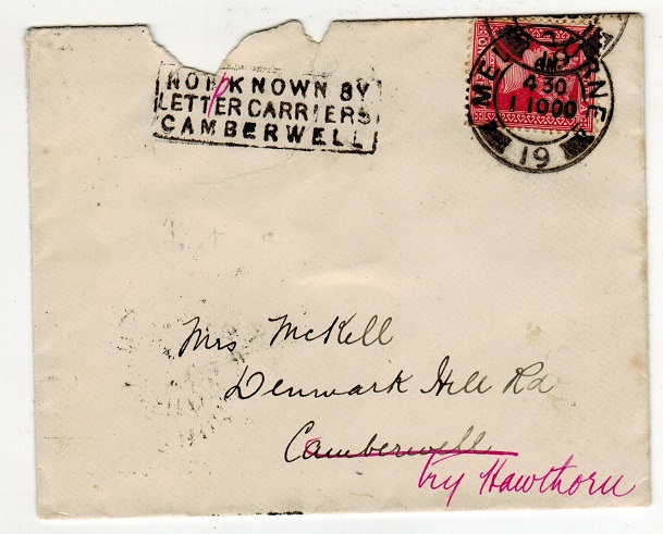 AUSTRALIA (Victoria) - 1900 NOT KNOWN BY/LETTER CARRIERS/CAMBERWELL cover.