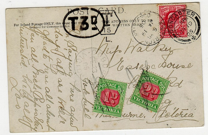 AUSTRALIA (Victoria) - 1905 inward postcard with 1d and 2d