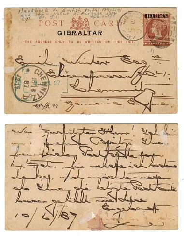 GIBRALTAR - 1886 1/2d brown PSC to Germany with