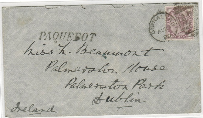 GIBRALTAR - 1900 GB 1d (SG Z77) on cover to Ireland tied