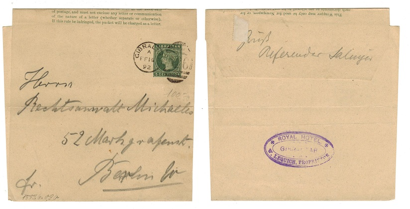GIBRALTAR - 1889 5c postal stationery wrapper to Germany cancelled
