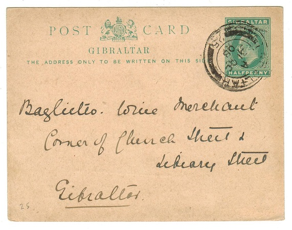 GIBRALTAR - 1904 1/2d green PSC used locally.  H&G 25.