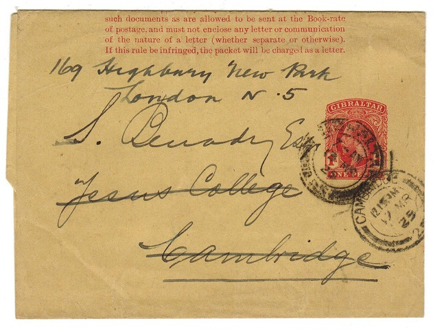 GIBRALTAR - 1912 1d carmine postal stationery wrapper to UK.  H&G 13.