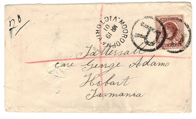 AUSTRALIA (Victoria) - 1901 registered cover to Tasmania with 5d tied MOOROOPMA.