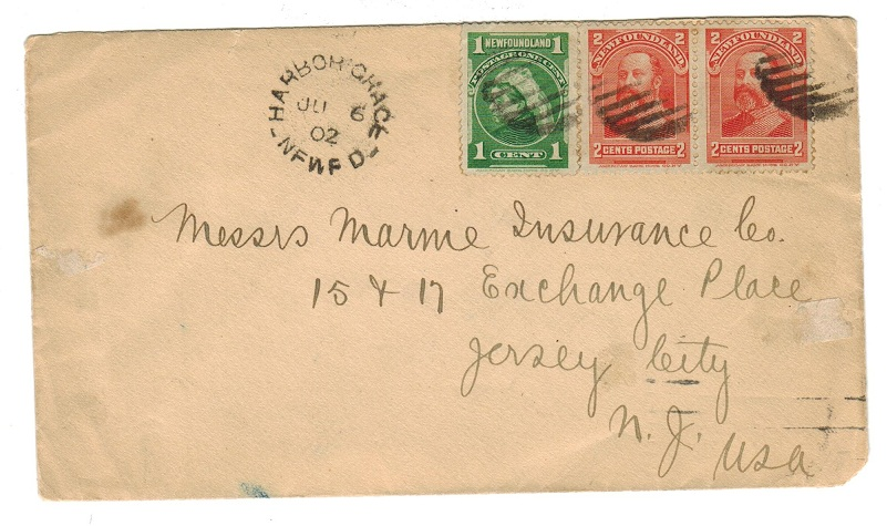 NEWFOUNDLAND - 1902 cover to USA used at HARBOR GRACE.