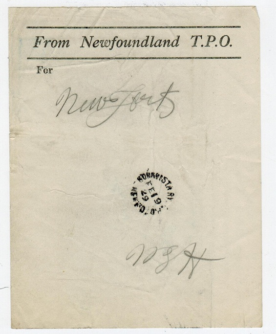 NEWFOUNDLAND - 1929 use of TPO form used at BONNISTRA RAILWAY.