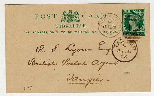 GIBRALTAR - 1889 5c PSC addressed to Tangier.  H&G 15.