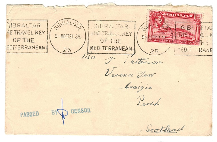 GIBRALTAR - 1939 early PASSED BY CENSOR cover to UK.