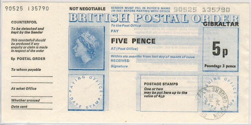 GIBRALTAR - 1974 5p POSTAL ORDER cancelled by MONEY ORDER/GIBRALTAR.