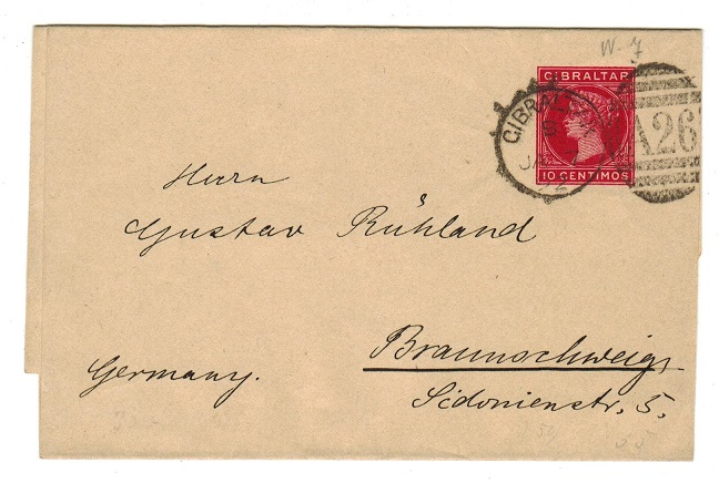 GIBRALTAR - 1889 10c carmine postal stationery wrapper to Germany.  H&G 7.