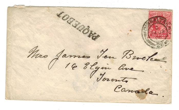 GIBRALTAR - 1906 GB 1d on cover to Canada with PAQUEBOT h/s.