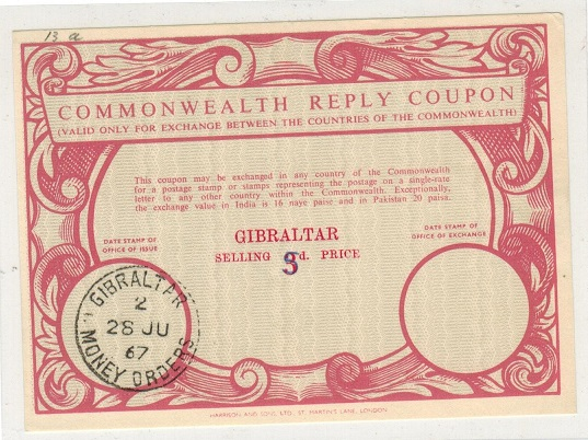 GIBRALTAR - 1967 3d red COMMONWEALTH REPLY COUPON revised