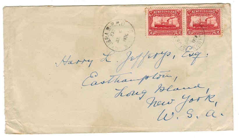 NEWFOUNDLAND - 1930 4c rate cover to USA used by St.J & P.A.B railway.