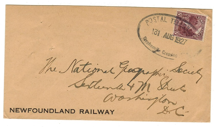 NEWFOUNDLAND - 1927 4c rate cover to USA used at POSTAL TELEGRAPHS/STEPHENVILLE CROSSING.