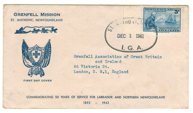 NEWFOUNDLAND - 1941 1st day cover to UK used at ST.ANTHONY/I.G.A.